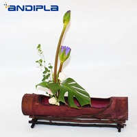 Chinese Style Flower Arrangement Bottle Creative Handmade Natural Bamboo Vase Antique Vase Desktop Flower Pot Vintage Home Decor