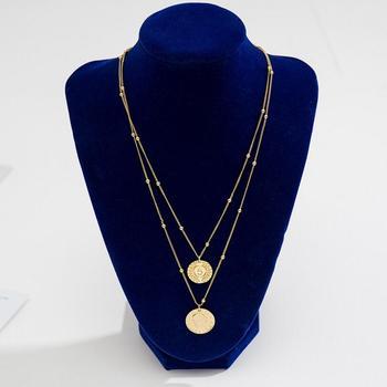 f71d2f4d5d66 Moda doble capa cadena declaración Collar para las mujeres Vintage oro Color  monedas cabeza colgante collar joyería collares