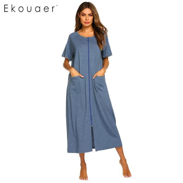 Ekouaer Dài Sleepshirts Váy Ngủ Nữ Cổ Tròn Ngắn Tay Kẻ Sọc Phối Túi Dây Kéo Bắp Chân Dài Rời Váy Ngủ Mùa Hè Váy Ngủ