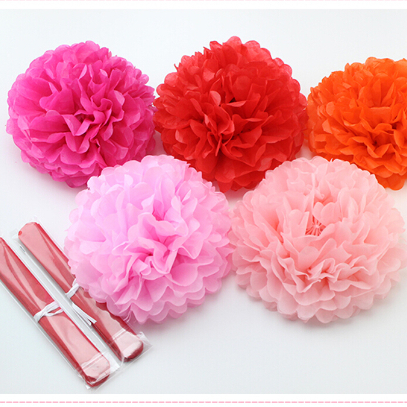 1pcs 10inch (25cm) Hot Sale Tissue Paper Pom Poms Flower Kissing Balls Home Decoration Festive & Party Supplies Wedding Favors