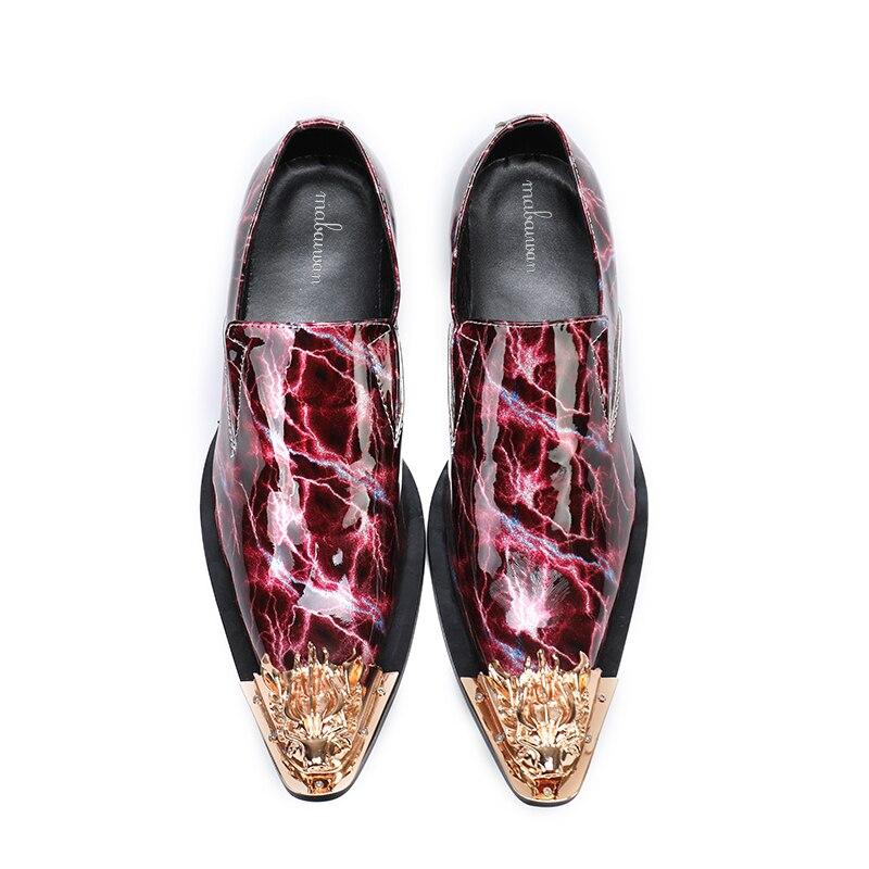 De Cuero Azul Plana Zapatos Metal Hombres rojo Mocasines Mabaiwan 2018 Zapatilla Oro Vestido Slip Puntiagudo en Los Patente Boda Casual UTwqBw78