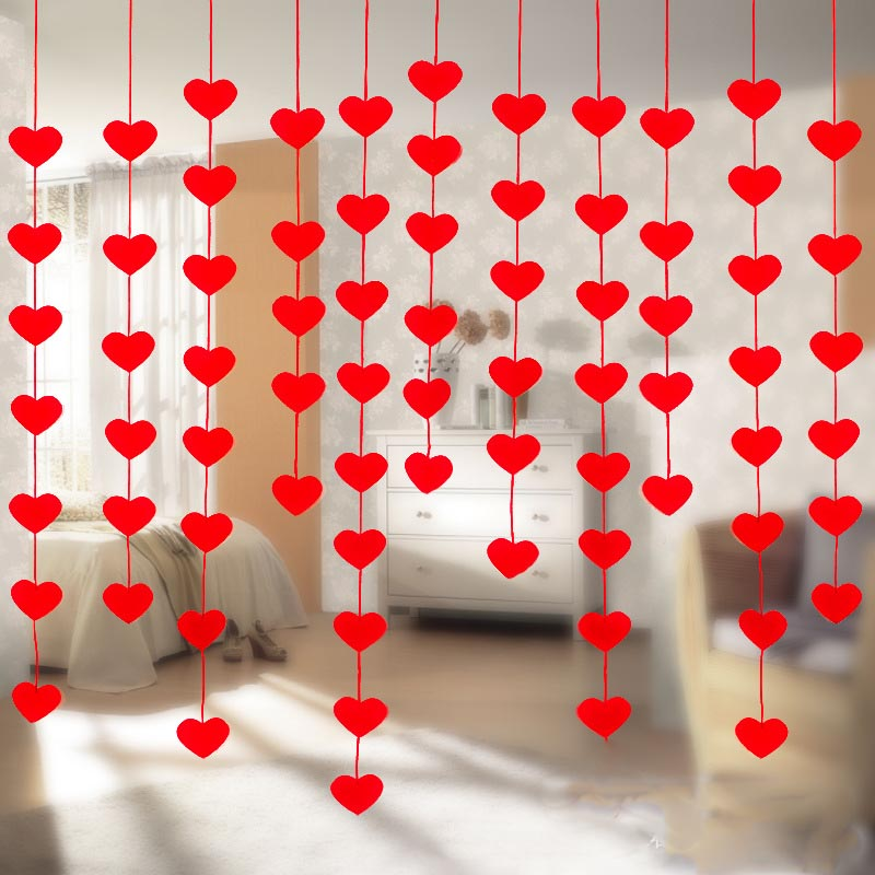 16 Hearts Love Heart Curtain Romantic Valentine Ornaments Non-woven Garland For Home Wedding Party Decoration 9Z