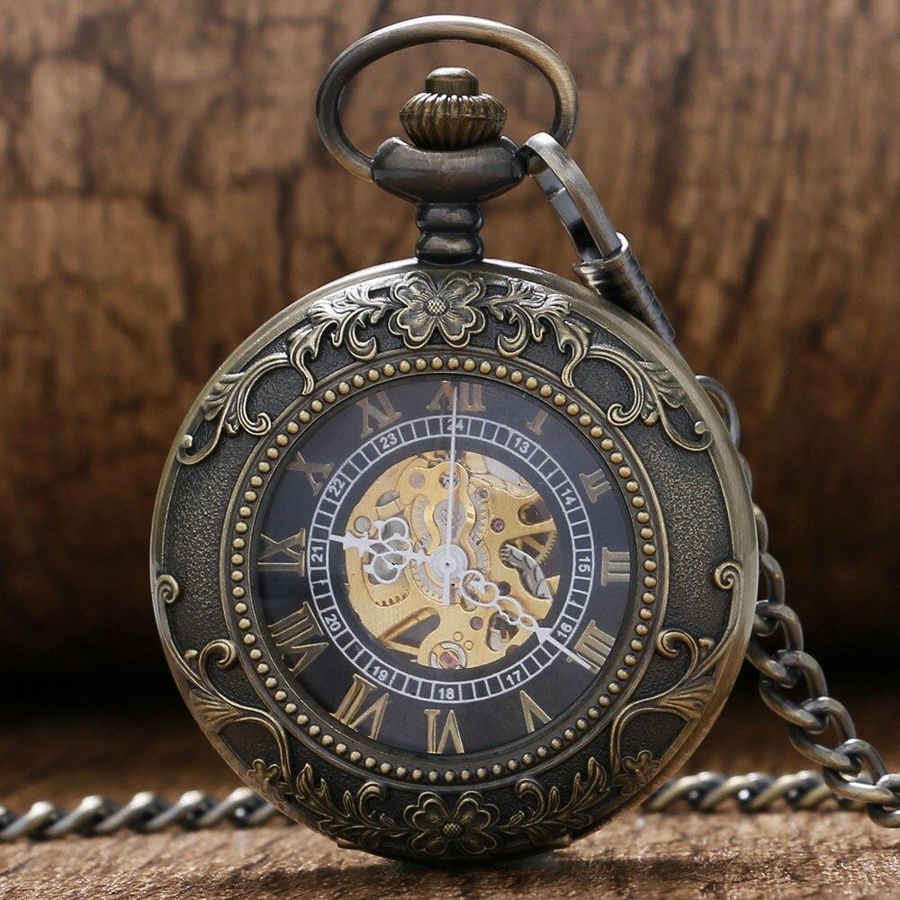 Steampunk Roman numerals Pocket Watch New Design Luxury Brand Fashion Skeleton Watches Hand Wind Mechanical Pocket Watch