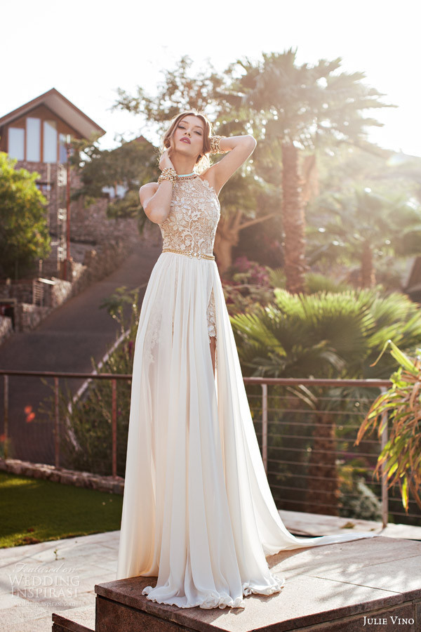 New Arrival Sexy White Lace Beach Wedding Dresses Applique Long Halter Side Slit Chiffon Wedding Gown Chiffon Beaded
