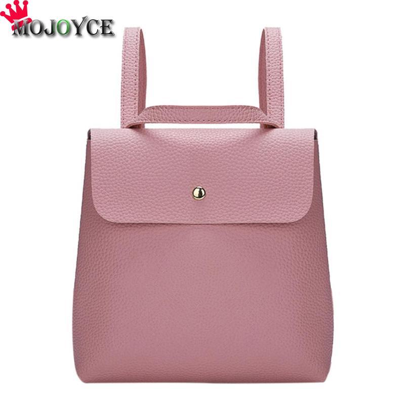 Einfache Frauen Mini Rucksäcke Casual PU Weichem Leder Kleine Paket Adrette Mädchen Damen Haspe Schule Taschen 230X230 X 50mm