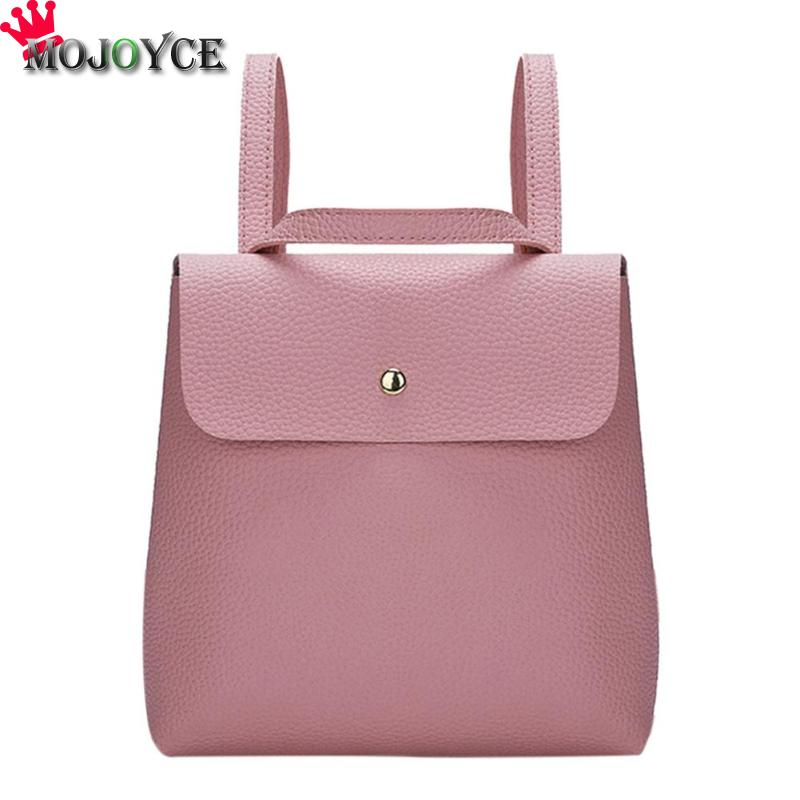 Simple Women Mini Backpacks  Casual PU Soft Leather Small Packet Preppy Style Girls Ladies Hasp School Bags 230 X 230 X 50mm