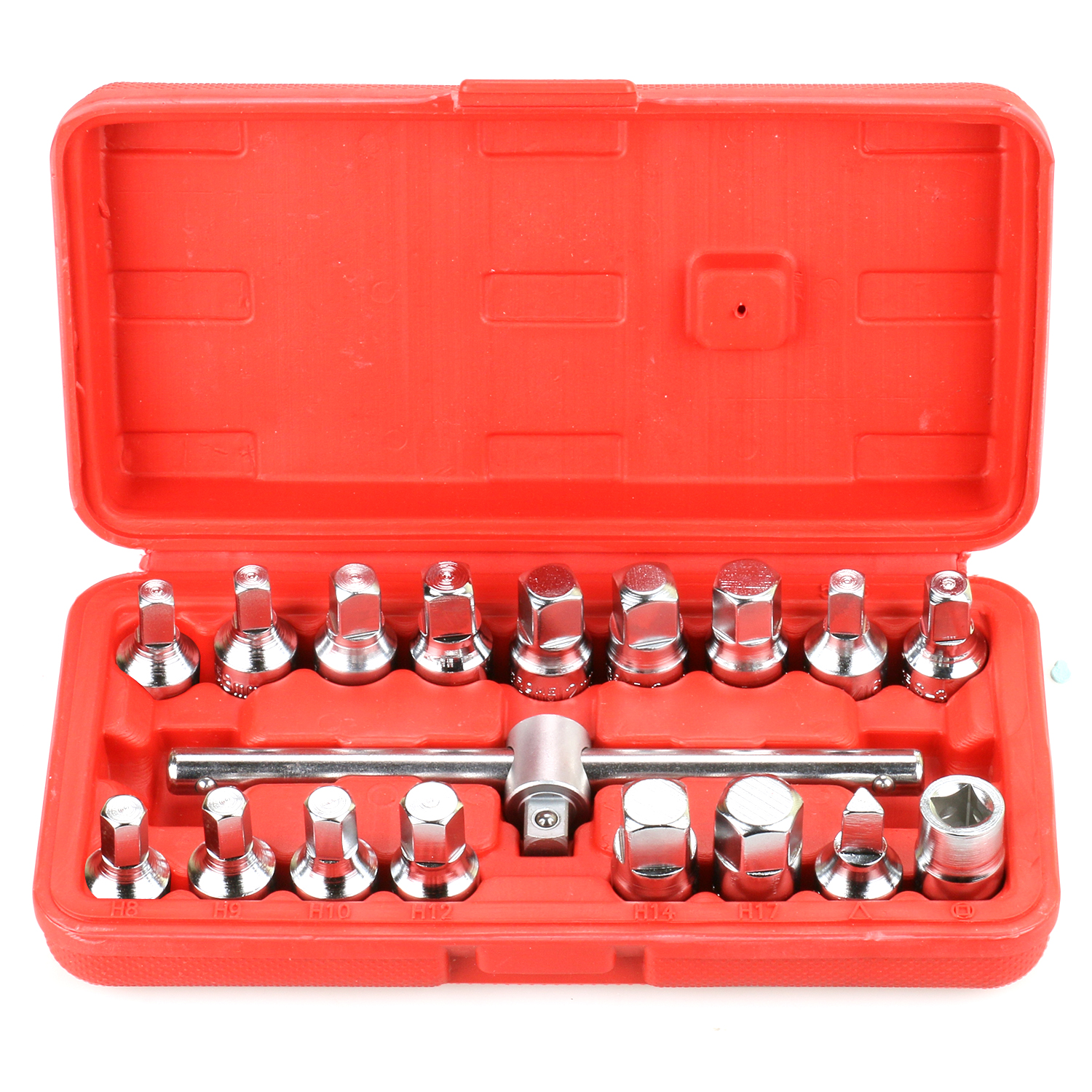 18pcs Oil Drain Pipe Plug Triangle Square Hexagon Socket Drive Sliding T-Bar Removal Kit Screw Set Pan Wrench Bottom Nut Adaptor