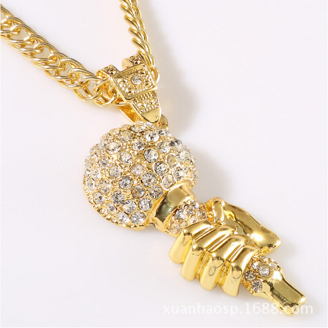 Online shop set auger hand microphone bling pendants necklace high set auger hand microphone bling pendants necklace high quality fashion star hip hop accessories gold chain men jewelry new 2014 aloadofball Images