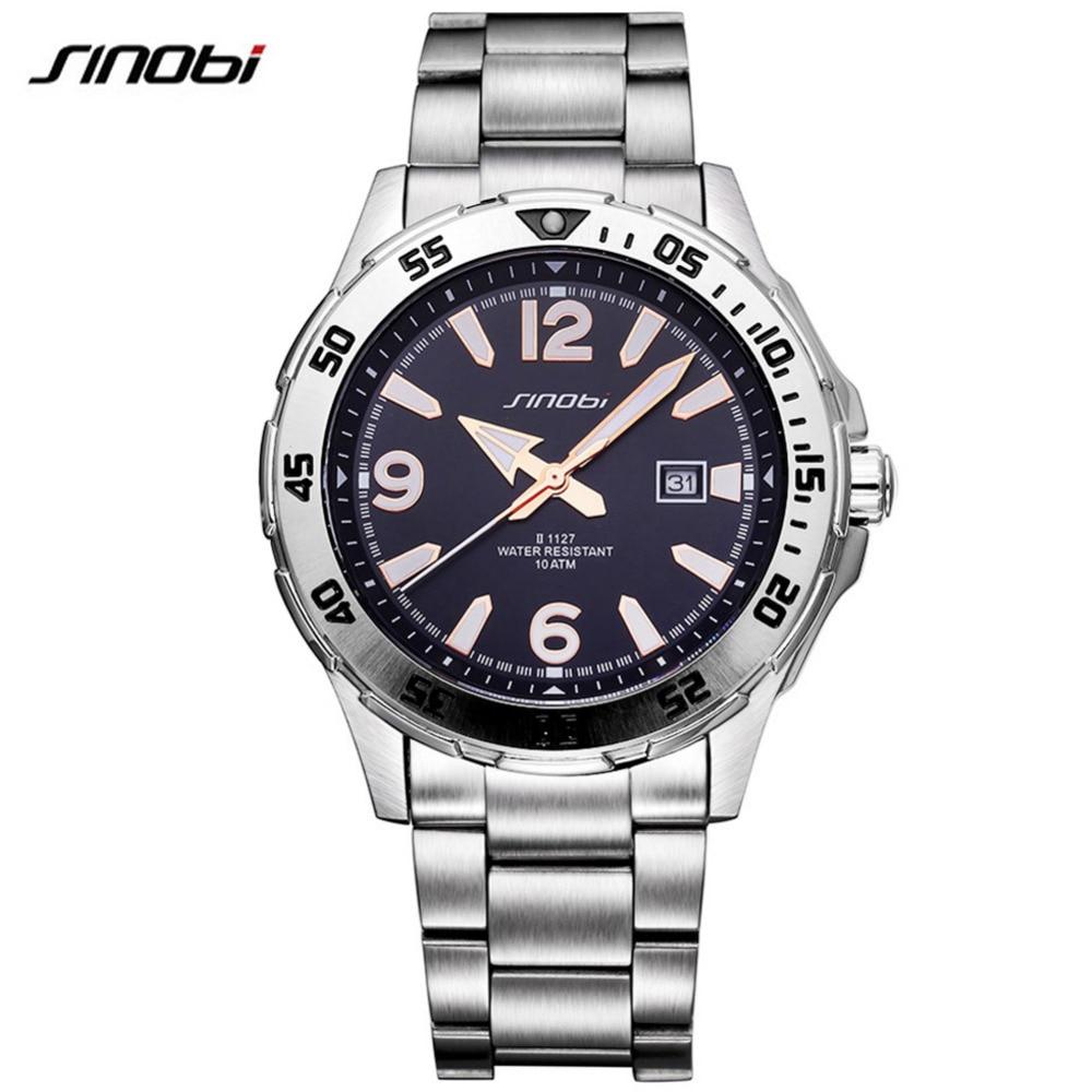 SINOBI 10Bar Waterproof Mens Diving Sports Wrist Watches Auto Date 2017 Top Luxury Brand Luminous Males Geneva Quartz-watch 007