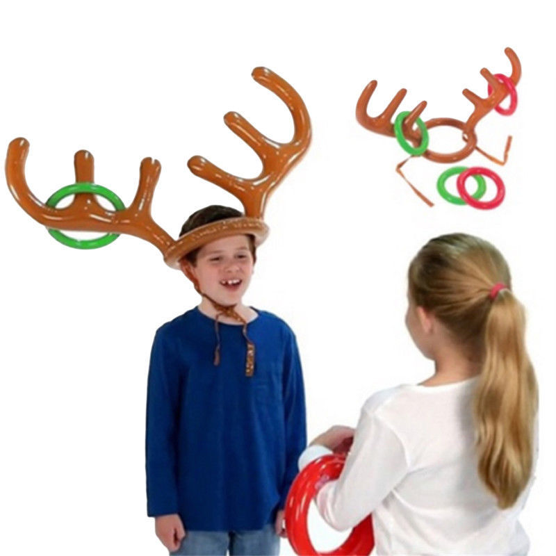 2017 1 Pcs Christmas Halloween New 1 PC Fashion Funny Reindeer Antler Hat Inflatable Toy Party Rings Toss Game Kid Gift