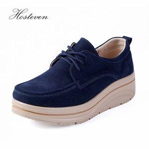 Image 3 - Hosteven/Женская обувь; кроссовки на плоской подошве; лоферы на платформе из коровьей замши; сезон весна осень; женские мокасины; женская обувь