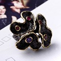 New Flower Blossom Gold Edges Party Engagement rings Brand New Black Golden color Brass metal jewelry Women Deluxe Party Ring