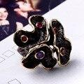 Nova Flor Da Flor do Ouro Bordas da Festa de Noivado anéis Marca Preto New Golden cor de Bronze do metal Anel de jóias Mulheres Do Partido de Luxo