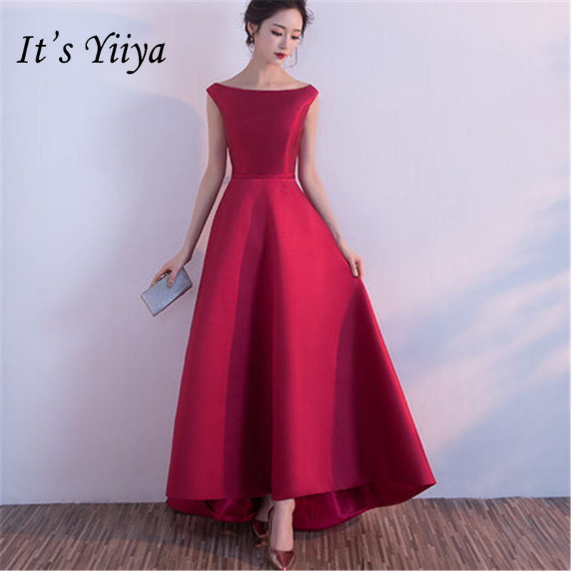 It's YiiYa Vintage Wine Red O-neck   Prom     Dresses   Elegant Sleeveless A-line Party Gowns HX102