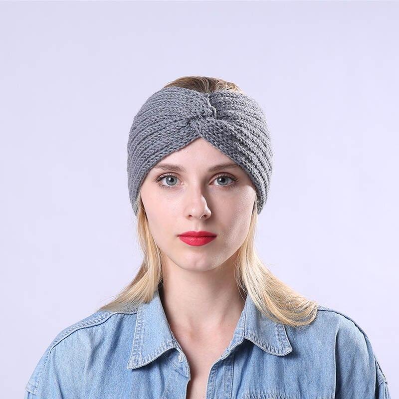 Women Winter Warmer Knitted  Solid Wool Warm Crochet Bow Headband Crochet Bow Wide Stretch Hairband Headwrap