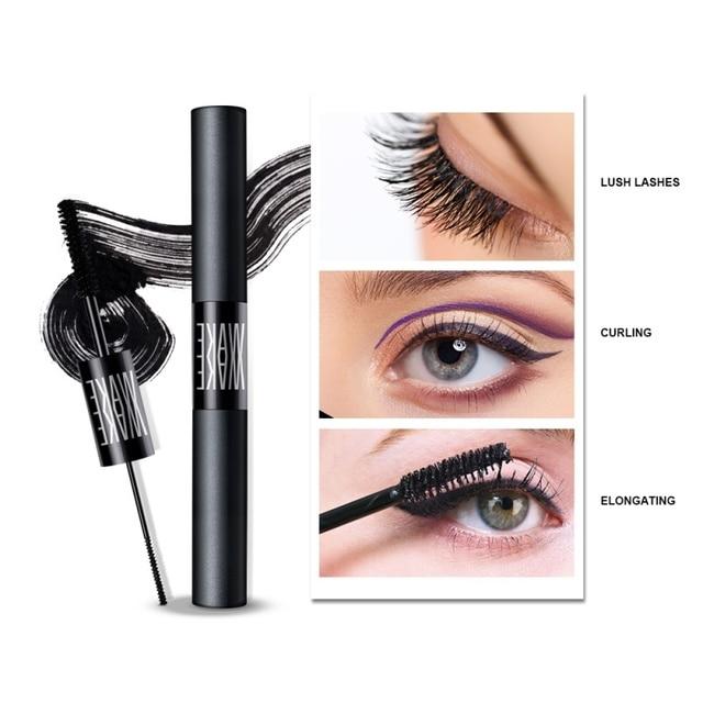 Doble cabeza Curl extensiones de pestañas Mascara ojo maquillaje extensión rimel negro herramienta cosmética