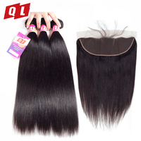 QLOVE HAIR Mongolian Straight Hair Natural Color Weave Non Remy 100% Human Hair 3 Bundles With 13*4 Lace Frontal Closure