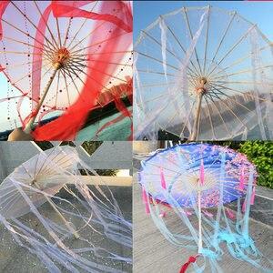 Image 2 - Sombrilla de seda china de Anime para mujer, accesorios de fotografía, paraguas de borlas de baile antiguo, sombrilla transparente de papel japonés para boda