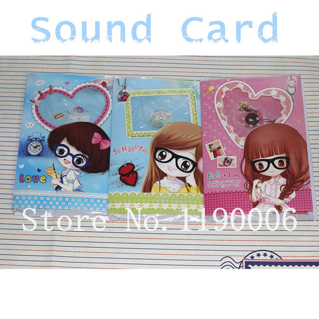 Free Shipping Cute glasses girl Musical birthday cards three – Musical Birthday Greetings