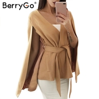 BerryGo Winter V Neck Belt Cape Coat Women Casual Streetwear Long Sleeve Outerwear Coats Autumn Elegant