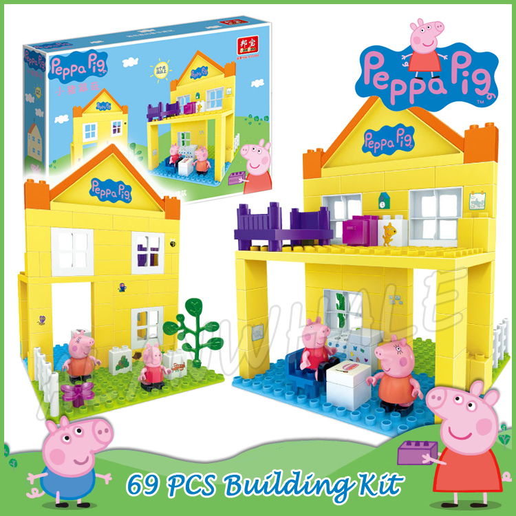 69pcs Peppa Luxury Big House Two-layer Villa Model Building Action Figures Assemble Chil ...
