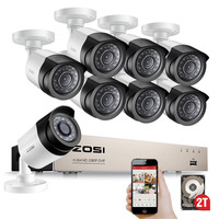 ZOSI HD 2MP Video Surveillance CCTV System 8 Channel Full Nightvision 1080P TVI DVR Kit Outdoor Mobile Bullet Camera Disk HDD