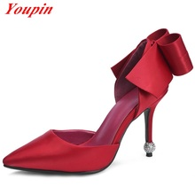 Satin Shoes 2016 Star high heels Pumps Womens Bowtie High Heels Lovers Shoes Black Shallow Mouth Red Wedding Shoes Women Fashion