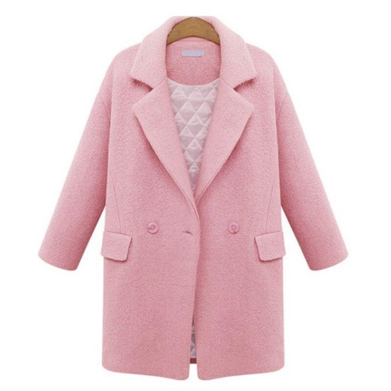 ZADORIN Winter Women Long Coat 2019 Solid Lapel Long Sleeve Elegant Pink Wool Coat Winter Thick Warm Casual Office Work Overcoat