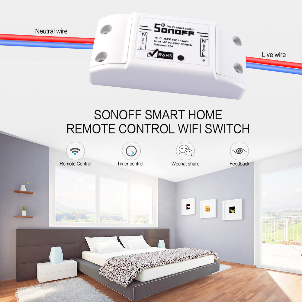 sonoff smart home remote control wifi switch smart home automation intelligent wifi center for. Black Bedroom Furniture Sets. Home Design Ideas