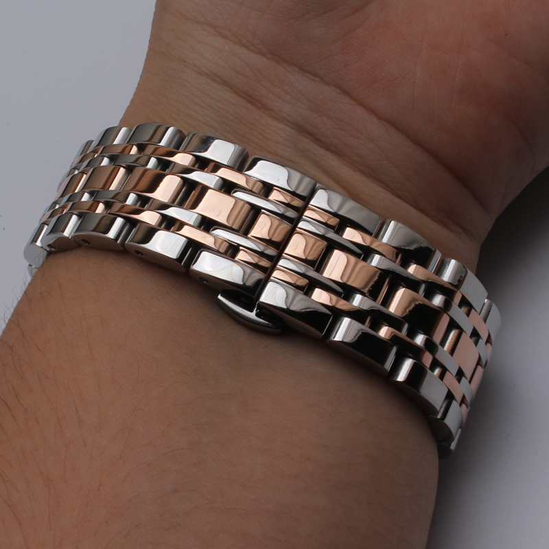 Stainless steel Watchband Wristwatch band metal strap butterfly buckle Silver rose gold width 14mm 16mm 18mm 20mm 22mm bracelets new 16mm 20mm silver gold metal stainless steel watchband bands strap bracelets for brands watches men high quality accessories