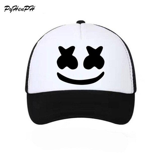 a5eb0283d0a942 Women Girl Boy Unisex Marshmello Face Baseball Cap Mesh Summer Cool Caps  new Youth Young Girl Cool Net Mesh Hat Caps
