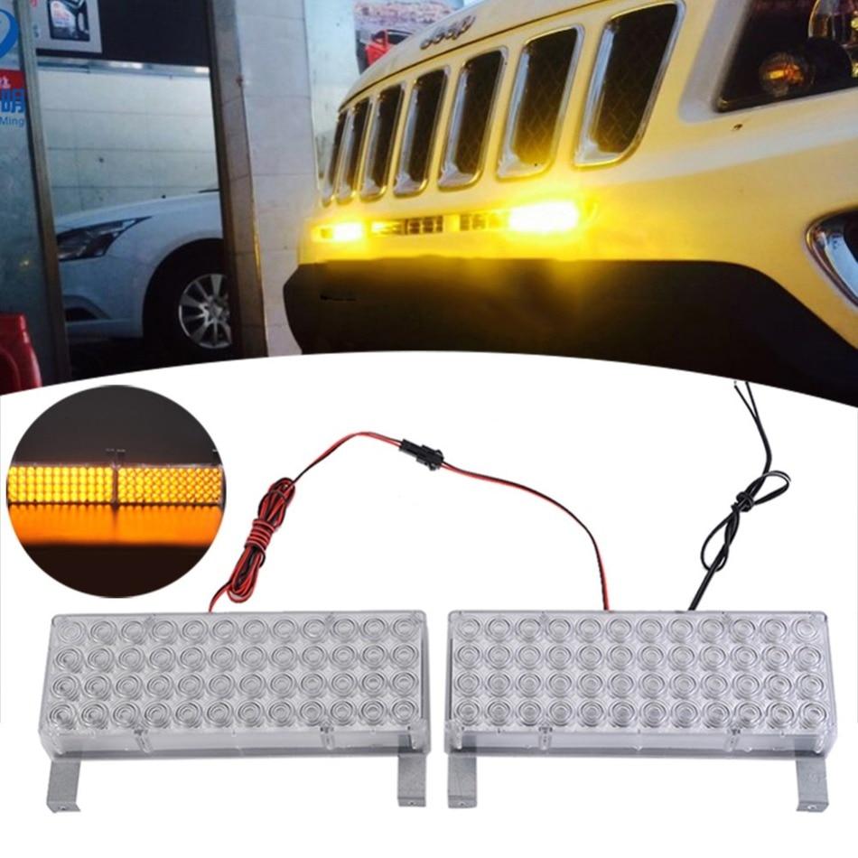 96 LED Yellow Strobe Emergency Flashing Warning Light for Car Truck 25*48 LED Warning Flash Strobe Lights Color Box Packaging