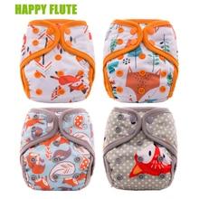4 шт. счастливые флейты новорожденных пеленки NB M OS тканевые карманные подгузники бамбуковый уголь подкладка водонепроницаемый PUL внешний