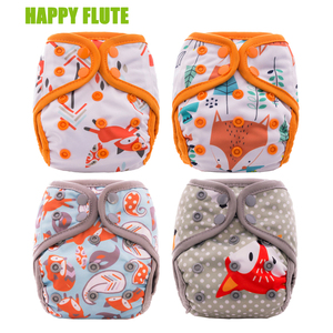 4Pcs Happy Flute Newborn Baby Diaper NB M OS Pocket Cloth Diapers Bamboo Charcoal Lining Waterproof PUL Outer