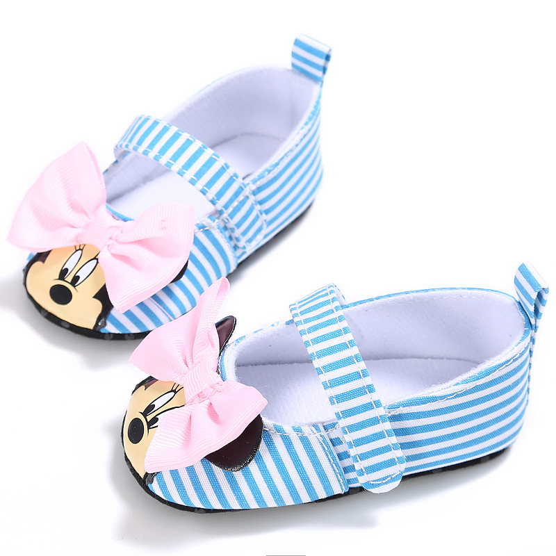 Princess girls cartoon first walkers infant baby girls summer shoes stripe toddler girls mocassins