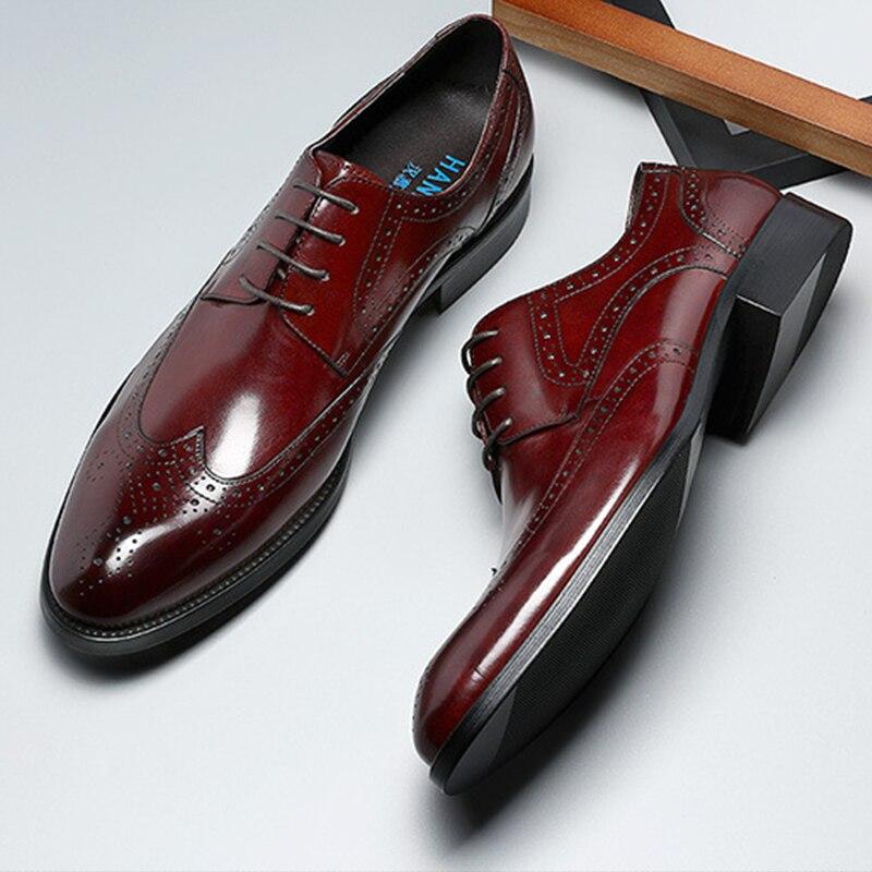 บุรุษอย่างเป็นทางการรองเท้าหนัง oxford รองเท้าสำหรับผู้ชาย dressing งานแต่งงาน brogues รองเท้า lace up ชาย zapatos de hombre-ใน รองเท้าทางการ จาก รองเท้า บน   1