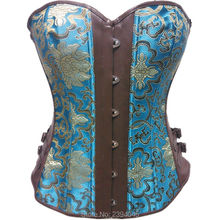 2016 Hot Sexy Printed Lace up Palace steampunk overbust corset Top Underwear Waist Fat Burner And Weight Loss Plus Size S-XXL