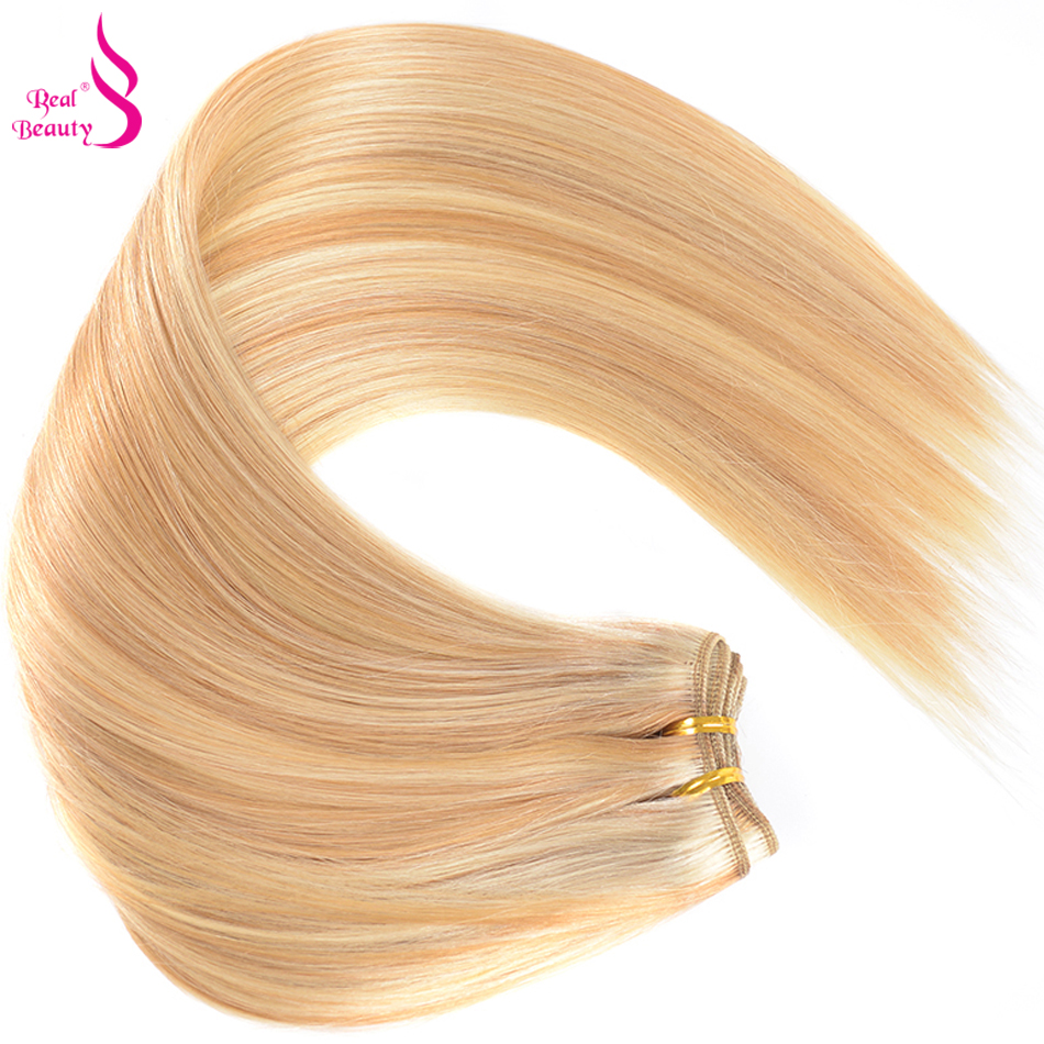 Real Beauty Ombre P27/613 Brazilian Straight Hair Bundles No Tangle Remy Hair Extensions Two Tone Hair Weave Tissage Bresilienne