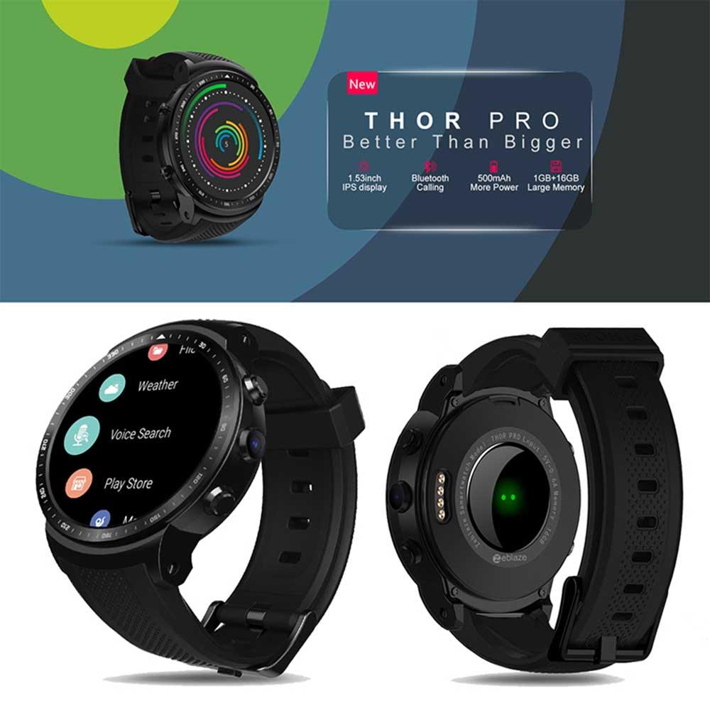 New Zeblaze Thor PRO 3G GPS Smartwatch 1.53inch 1GB+16GB Android 5.1 MTK6580 1.0GHz Sim Weather Fingerprint Smart Watch Phone
