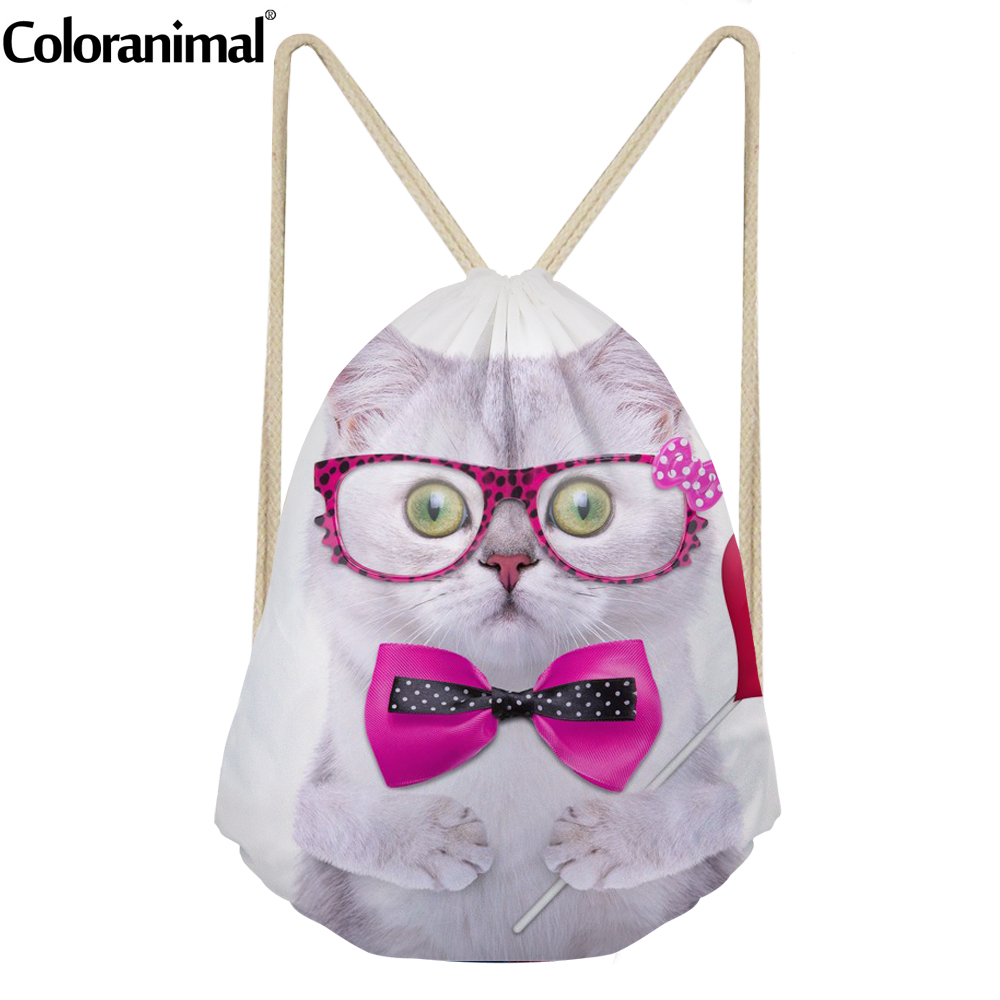 Coloranimal Kawaii 3D Animal White Cat / Dog/Pig Print Casual Middle School Studnet Drawstring Bag Softback Bag Men Gym Sack Bag
