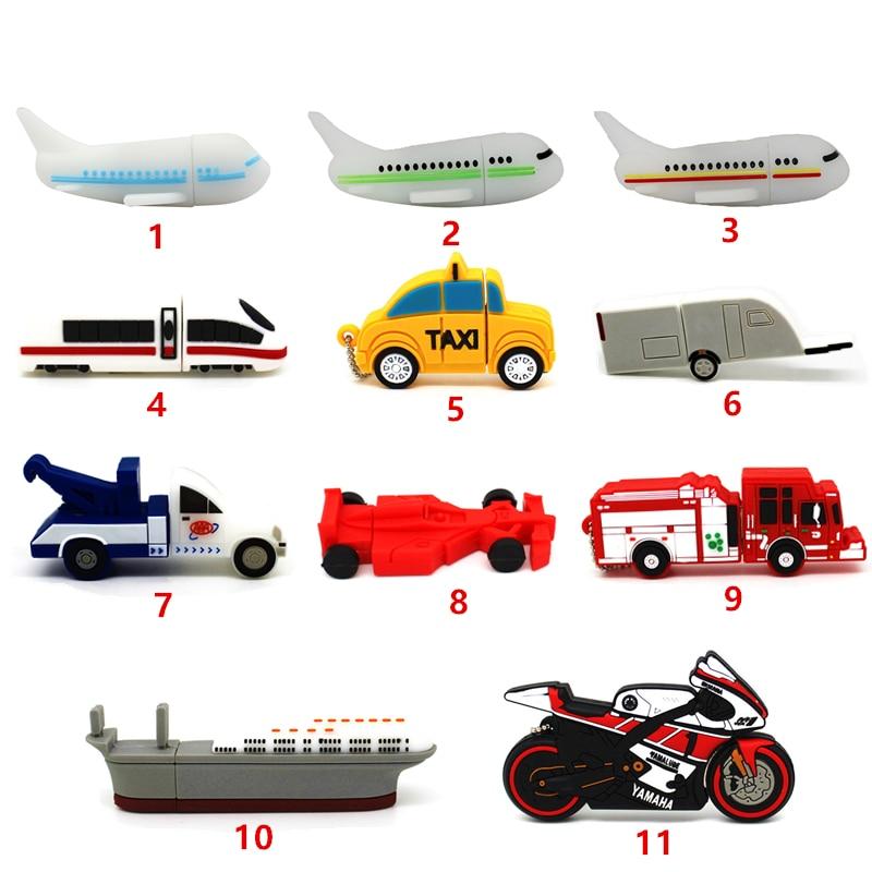 Motorcycle/Car/Racing/Plane/Trailer/Train/Ship/Fire Truck USB Flash Drive 4GB Pen Drive 32GB Pendrive 64GB 16GB 8GB Memory Stick