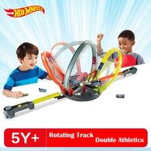 Hot Wheels двойной ударный трек, игрушечный набор Hotwheels, игрушки для мальчиков, двойной Спортивный Трек FDF26, детский подарок на день рождения, Рождество