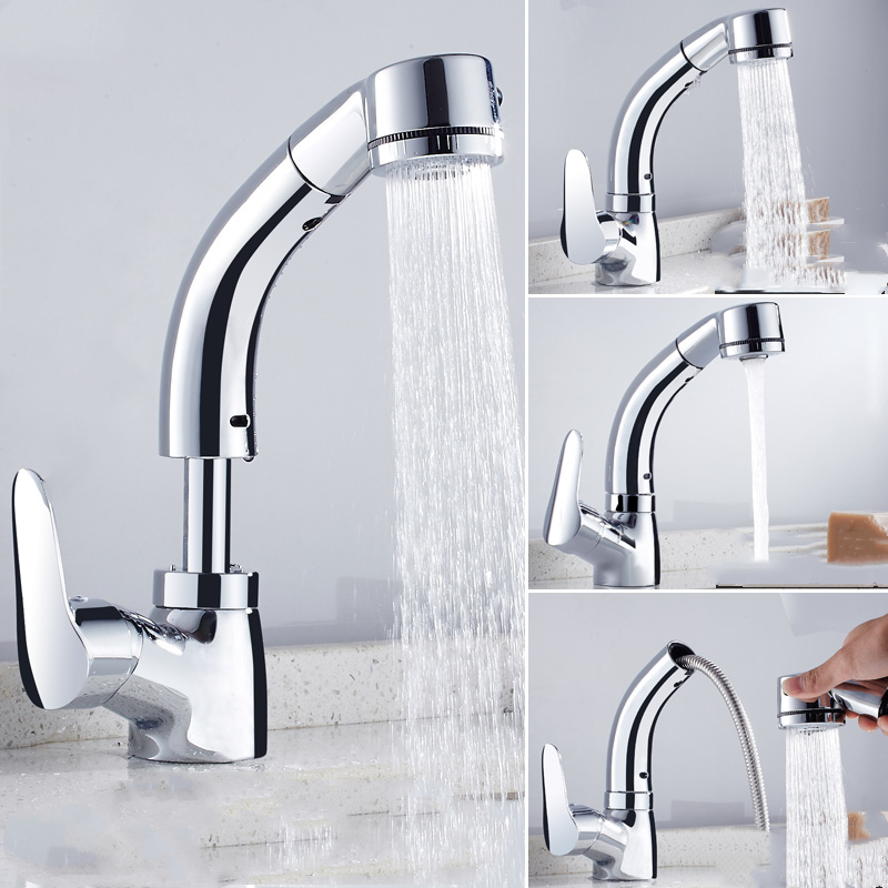 Kitchen Faucet Black/Gold/Chrome/White Pull Out Kitchen Tap ...