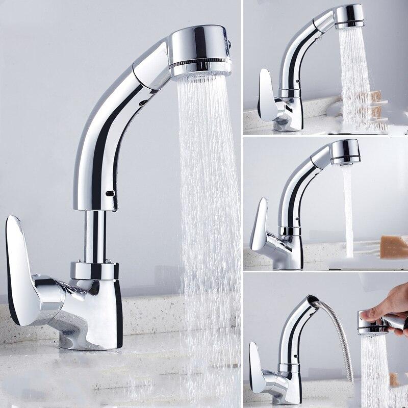 Robinet de cuisine noir/or/Chrome/blanc tirez le robinet de cuisine avec la pomme de douche poignée unique grue mélangeur d'eau robinet mitigeur