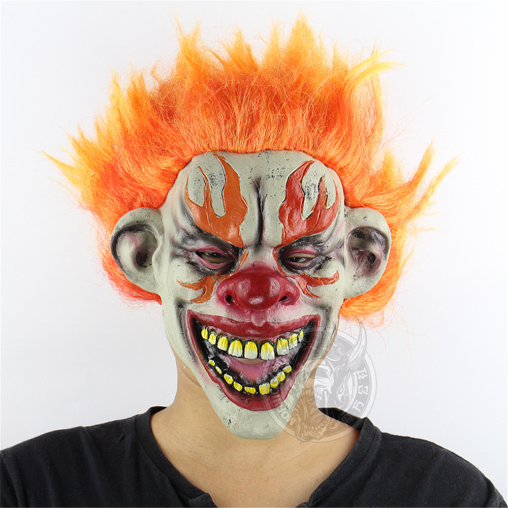 Halloween Horrible Creepy Terrifying Realistic Flame Clown Mask Masquerade Supplies Cosplay Costumes Party Props
