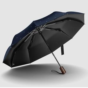 Image 3 - Olycat nova chegada automático men guarda chuva três vezes alça de madeira preto revestimento sol dobrável guarda sóis 10 k à prova vento