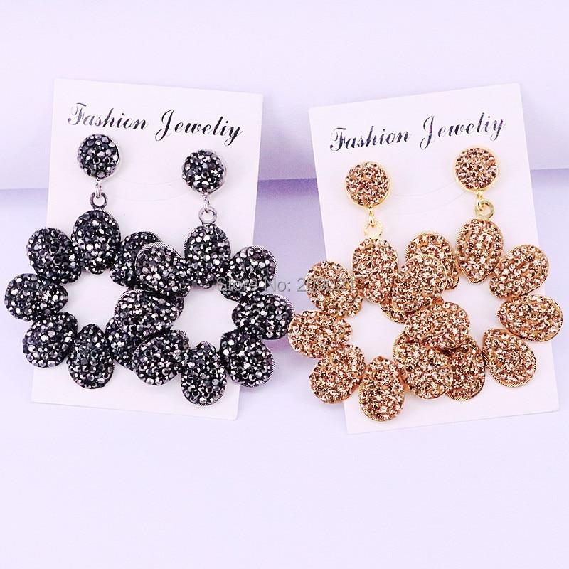 4Pairs Fashion Golden Black Rhinestone Pave Metal Flower Charm Dangle Earrings Jewelry for Women