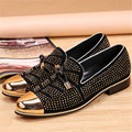 New Gold Rhinestone Metal Pionted Toe Men Shoes Loafers Party Office Shoes Slip On Casual Shoes Men Flats Creepers Espadrilles