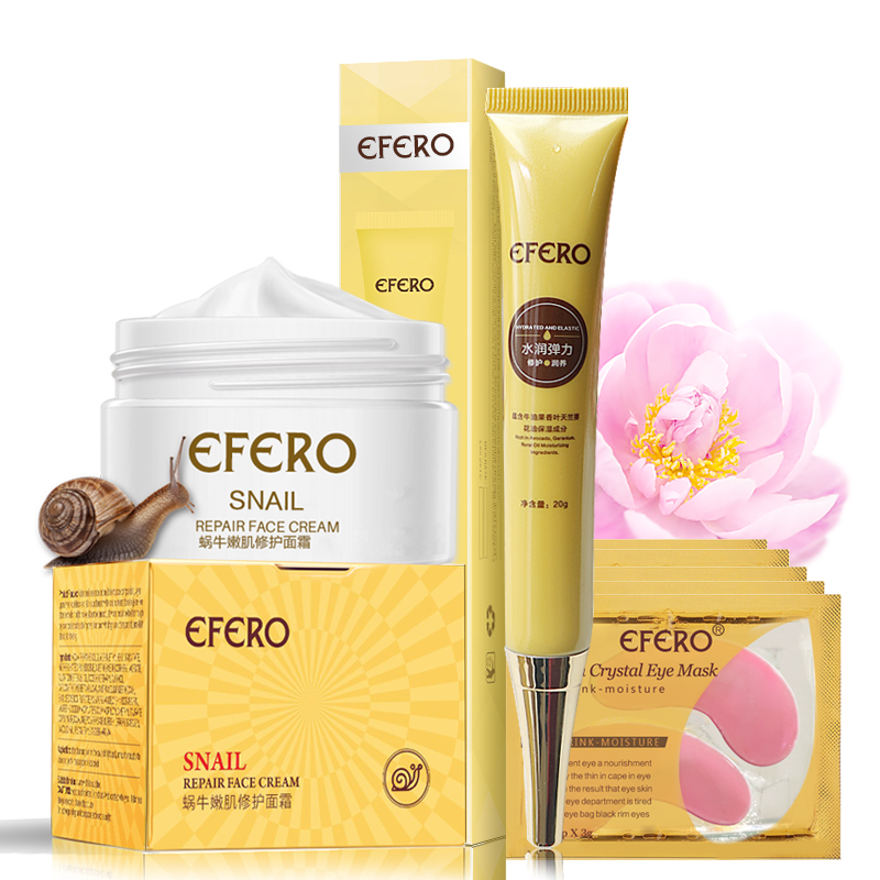 EFERO 5pack Crystal Collagen Eye Mask Patches + 1pc Snail Cream Face Moisture Day Cream+ 1pc Eye Cream Dark Circle Anti Wrinkle