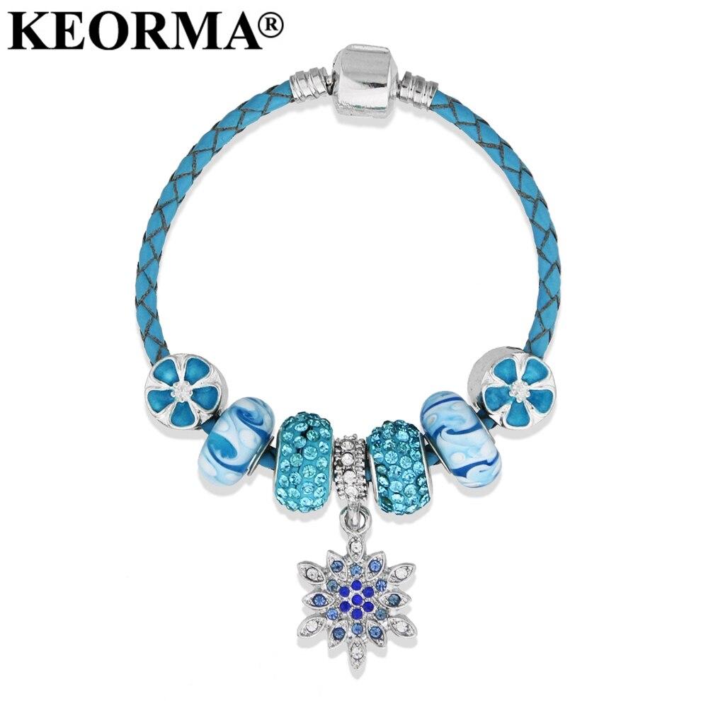 Snowflake Charm Bracelet: KEORMA 17 22cm Simple Style Snowflake Charm Bracelet